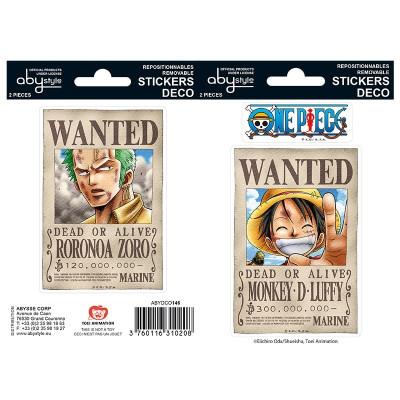 One Piece Wanted Ruffy Zorro Sticker Set