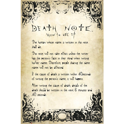 Death Note Rules Poster