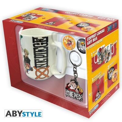 One Piece Geschenk-Box mit Tasse Schlüsselanhänger und Buttons