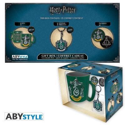 Harry Potter Slytherin Geschenk-Box mit Tasse Schlüsselanhänger und Buttons